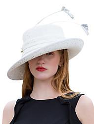 Недорогие -Elizabeth Чудесная миссис Мейзел Жен. Взрослые Дамы Ретро Перо Чистая Шляпа Фетровые шляпы шляпа Белый Цветы Хлопок / полиэфир Полиэстер Головные уборы Лолита Аксессуары