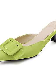 Недорогие -Жен. Замша Лето Башмаки и босоножки На толстом каблуке Заостренный носок Пряжки Красный / Зеленый / Розовый