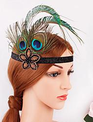 Χαμηλού Κόστους -Υπέροχος Γκάτσμπυ Δεκαετία του 1920 Gatsby Στολές Γυναικεία Κορδέλα μαλλιών του 1920 Καλύμματα Κεφαλής Πράσινο Πεπαλαιωμένο Cosplay Πάρτι Χοροεσπερίδα Φεστιβάλ