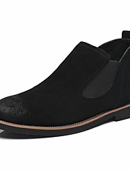 Недорогие -Муж. Комфортная обувь Кожа Зима Ботинки Ботинки Черный / Бежевый