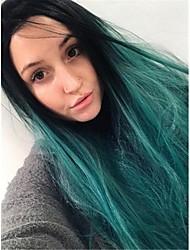 voordelige -Pruik Lace Front Synthetisch Haar Recht Zwart Middelste stuk Zwart / groen 180% Human Hair Density Synthetisch haar 26 inch(es) Dames Dames Zwart / Groen Pruik Lang Kanten Voorkant Sylvia / Ja