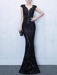 a222b9cb1c5 Mermaid   Trumpet V Neck Floor Length Sequined Vintage Inspired Formal  Evening Dress with Sequin   Crystals   Embroidery by LAN TING Express