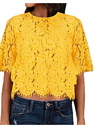 Χαμηλού Κόστους -γυναικεία ασιατική μεγέθους λεπτή μπλούζα - συμπαγές στρογγυλό λαιμό