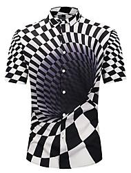 Недорогие -Муж. С принтом Рубашка Классический / преувеличены Геометрический принт / 3D / Графика Черное и белое
