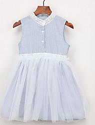 お買い得  -幼児 女の子 活発的 日常 ストライプ ノースリーブ 膝丈 ポリエステル ドレス ライトブルー