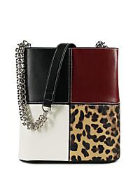 Χαμηλού Κόστους -Γυναικεία Τσάντες PU Τσάντα ώμου Συνδυασμός Χρωμάτων Μαύρο / Άσπρο