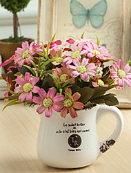 voordelige -Kunstbloemen 5 Tak Klassiek Europees Pastoraal Stijl Madeliefjes Bloemen voor op tafel