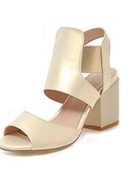 preiswerte -Damen Kunststoff Sommer Sandalen Blockabsatz Peep Toe Gold / Silber / Dunkelgrau / Party & Festivität