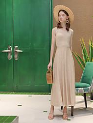 baratos -Mulheres Para Noite Elegante Algodão Evasê Vestido - Patchwork, Listrado Cintura Alta Altura dos Joelhos