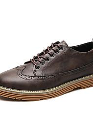 baratos -Homens Sapatos Confortáveis Couro Ecológico Outono Tênis Cinzento / Amarelo / Marron