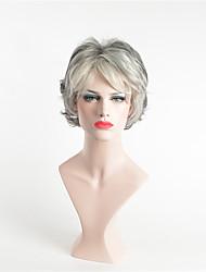 abordables -Perruque Synthétique Bouclé Gris foncé Coupe Asymétrique Gris Cheveux Synthétiques 12 pouce Femme Soirée Gris foncé Perruque Court Sans bonnet