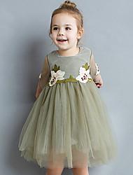 お買い得  -幼児 女の子 活発的 日常 ソリッド / 幾何学模様 長袖 膝丈 ポリエステル ドレス グリーン
