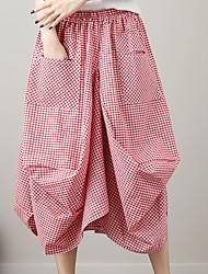 Χαμηλού Κόστους -Γυναικεία Γραμμή Α Βασικό Φούστες - Τετράγωνο Καρό