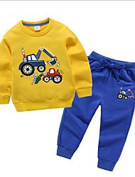billige -Barn / Baby Jente Aktiv / Grunnleggende Tegneserie Langermet Polyester Tøysett Grå