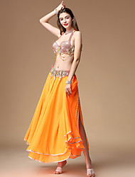 cheap -Belly Dance Outfits Women's Training / Performance Polyester Ruching / Split Sleeveless Dropped Skirts / Bra / Waist Accessory