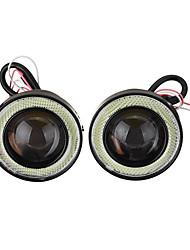 Недорогие -Пара 2,5-дюймовый автомобиль светодиодные противотуманные фары с гербом ангельский глаз кольцо гало Drl объектив проектора дальнего света комплект