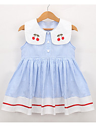お買い得  -幼児 女の子 活発的 日常 ストライプ / カラーブロック ノースリーブ 膝丈 ドレス ホワイト