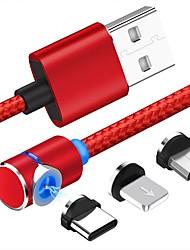 Недорогие -Micro USB / Подсветка / Type-C Кабель 1m-1.99m / 3ft-6ft От 1 до 3 Пластик / Алюминий Адаптер USB-кабеля Назначение Samsung / Huawei / Xiaomi