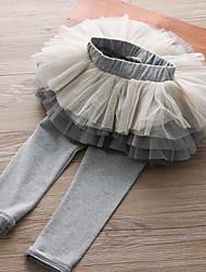 billige -Barn Jente Aktiv / Bohem Ferie / Ut på byen Ensfarget Multi Layer / Netting Bomull / Akryl / Polyester Leggings Rosa