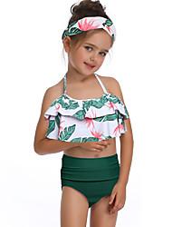 ราคาถูก -เด็ก / Toddler เด็กผู้หญิง พื้นฐาน / สไตล์น่ารัก Sport / ชายหาด ลายดอกไม้ ระบาย เสื้อไม่มีแขน ไนลอน ชุดว่ายน้ำ ใบไม้สีเขียวที่มีสามแฉก