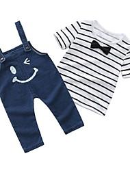 abordables -bébé Garçon Basique Quotidien Rayé Manches Courtes Normal Coton Ensemble de Vêtements Blanc