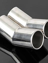 Недорогие -1 шт. 60 mm Советы по выхлопной трубе изогнутый Нержавеющая сталь Глушители выхлопа Назначение Volkswagen Bora Все года
