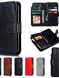 Недорогие -Кейс для Назначение Apple iPhone XS / iPhone XR / iPhone XS Max Кошелек / Бумажник для карт Чехол Однотонный Твердый Кожа PU