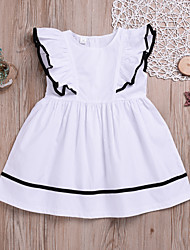 cheap -Kids / Toddler Girls' Sweet / Cute Daily Solid Colored Ruffle Short Sleeve Dress White