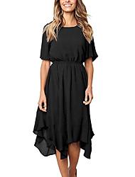 baratos -Mulheres Básico Chifon Vestido - Franzido Assimétrico