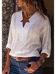 Недорогие -Жен. Большие размеры - Рубашка Хлопок, V-образный вырез Однотонный