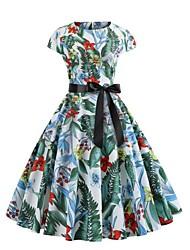 Недорогие -Жен. Уличный стиль Обтягивающие С летящей юбкой Платье - Цветочный принт, С принтом До колена