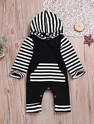 billige -Baby Gutt Aktiv / Grunnleggende Daglig Svart og hvit Stripet Stripe / Lapper Langermet Bomull Endelt Svart