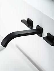 preiswerte -Waschbecken Wasserhahn - Verbreitete Schwarz Andere Zwei Griffe Zwei LöcherBath Taps