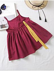 お買い得  -子供 / 幼児 女の子 甘い / かわいいスタイル ソリッド / カラーブロック ノースリーブ ドレス ワイン