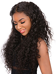 Недорогие -Натуральные волосы Лента спереди Парик Глубокое разделение Боковая часть Kardashian стиль Бразильские волосы Свободные волны Парик 250% Плотность волос / с детскими волосами / с детскими волосами