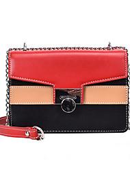 abordables -Mujer Bolsos PU Bolsa de hombro Cremallera Bloques Negro / Rojo / Caqui