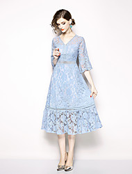 cheap -A-Line V Neck Tea Length / Court Train Lace Dress with Tier / Lace Insert by LAN TING Express