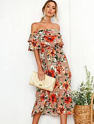 Недорогие -Жен. Пляж Тонкие Оболочка Платье - Цветочный принт, С принтом С открытыми плечами Средней длины