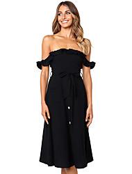 baratos -Mulheres Básico / Elegante Bainha Vestido - Cordões, Sólido Médio