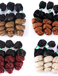 cheap -Laflare Ombre Synthetic Extentions Wavy Synthetic Hair Mid Length Hair Extension Hair weave 3 Pieces Cosplay Adjustable Best Quality Women's Christmas Wedding Halloween