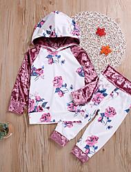 ราคาถูก -เด็ก / Toddler เด็กผู้หญิง ซึ่งทำงานอยู่ / พื้นฐาน ลายดอกไม้ ลายพิมพ์ แขนยาว ฝ้าย / เส้นใยสังเคราะห์ ชุดเสื้อผ้า ขาว
