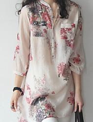 Недорогие -Жен. С принтом Рубашка Цветочный принт