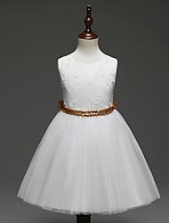 Χαμηλού Κόστους -Μωρό Κοριτσίστικα Βασικό Μονόχρωμο Αμάνικο Πολυεστέρας Φόρεμα Ρουμπίνι