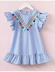 お買い得  -幼児 女の子 活発的 日常 ソリッド / ストライプ タッセル ノースリーブ 膝上 ポリエステル ドレス ライトブルー