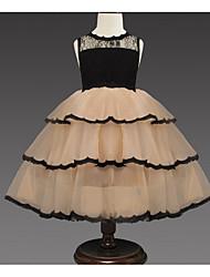 お買い得  -子供 女の子 ベーシック ソリッド ノースリーブ ドレス カーキ色