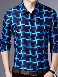 Недорогие -Муж. Рубашка Тонкие Контрастных цветов Синий / Длинный рукав