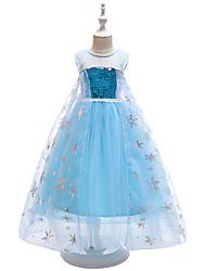 Χαμηλού Κόστους -Παιδιά / Νήπιο Κοριτσίστικα Ενεργό / Γλυκός Πάρτι Μονόχρωμο Πούλιες Αμάνικο Μακρύ Φόρεμα Θαλασσί