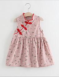 Χαμηλού Κόστους -Νήπιο Κοριτσίστικα Γλυκός / Κινεζικό στυλ Γεωμετρικό Αμάνικο Φόρεμα Θαλασσί