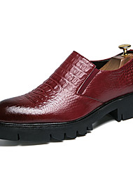 cheap -Men's Comfort Shoes Faux Leather Fall Loafers & Slip-Ons Black / Red