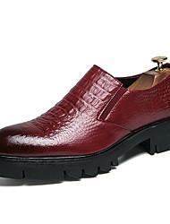 abordables -Hombre Zapatos Confort Cuero Sintético Otoño Zapatos de taco bajo y Slip-On Negro / Rojo